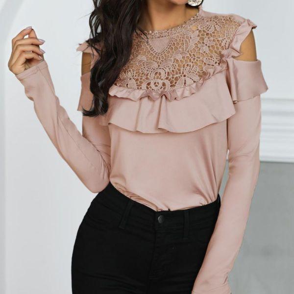 Crochet Lace Frills Open Shoulder Blouse 2