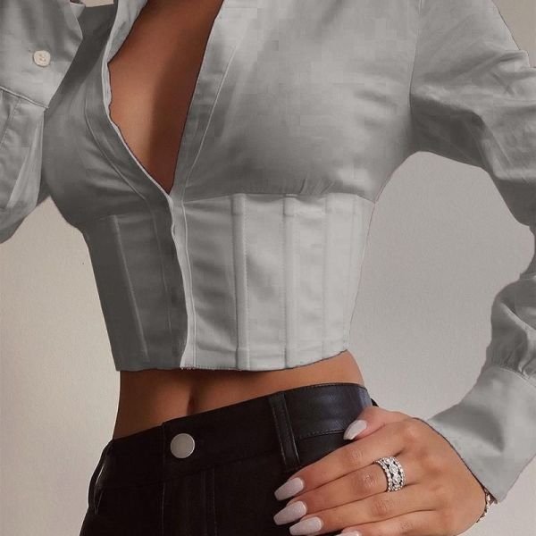 Solid Collared Corset Crop Top 2