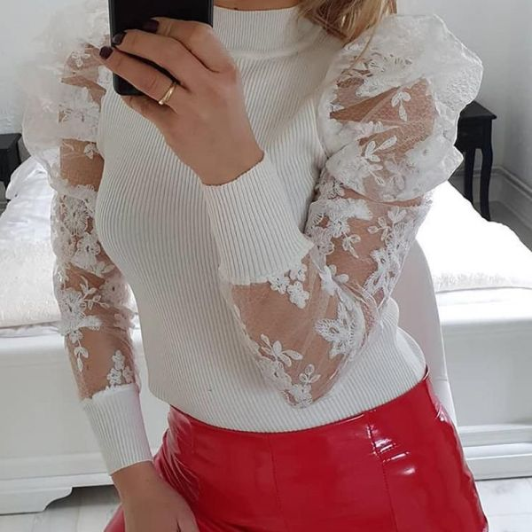 Lace Puff Sleeve Knit Top 2