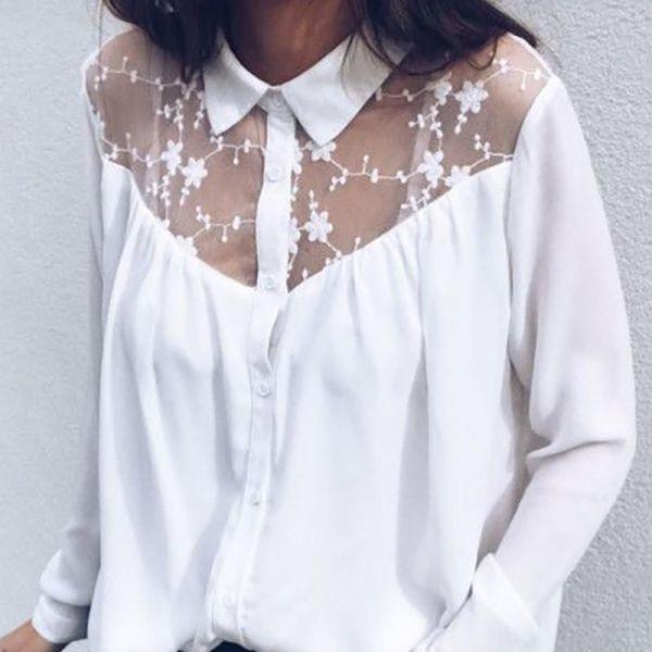 Sexy Lace Stitching Long Sleeve Blouse 2