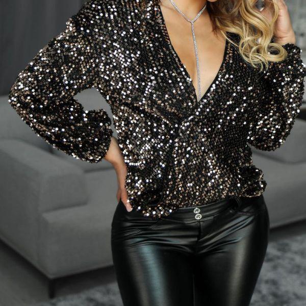 Glitter Plunge Long Sleeve Sequins Blouse 2