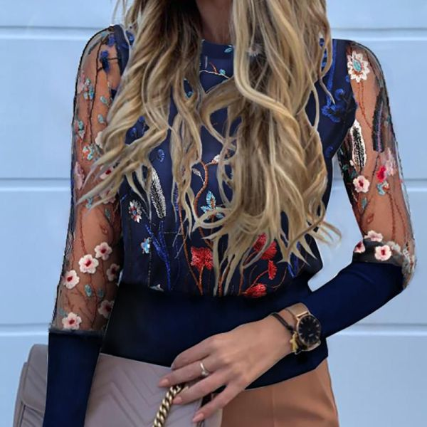 Floral Embroidery Sheer Mesh Blouse 2