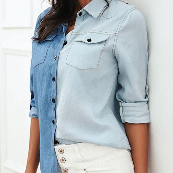 Turn-down Collar Colorblock Insert Pocket Denim Shirt 2