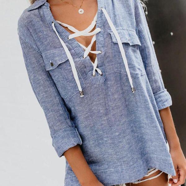 Turn-down Collar Vertical Pinstripes Eyelet Lace-up Shirt 2