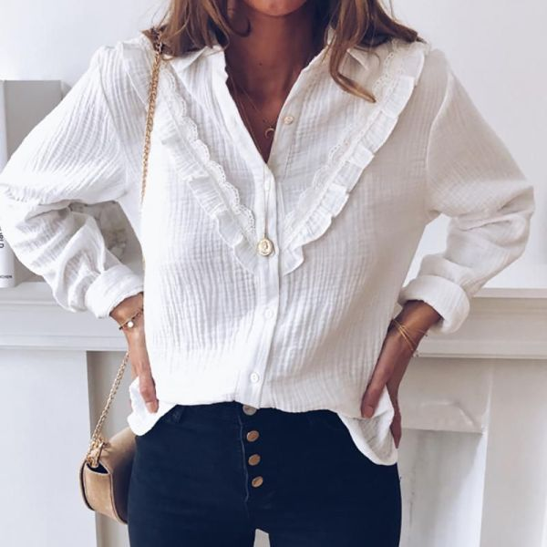 Turn-down Collar Long Sleeve Frill Design Buttoned Shirt 2