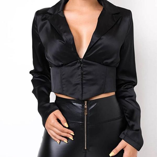 Solid Deep V Button Front Top 2