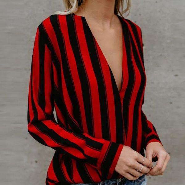 Stripes Deep V Long Sleeve Casual Blouse 2
