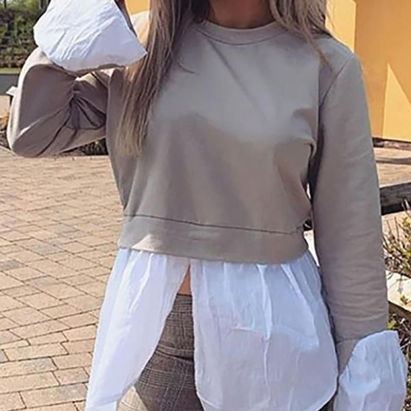 Round Neck Bell Cuff Colorblock Insert Slit Blouse 2