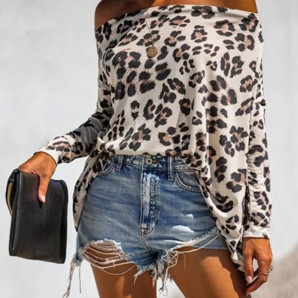 Off Shoulder Leopard Print Long Sleeve Blouse 2