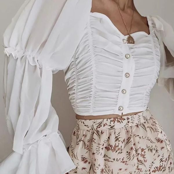 Sheer Mesh Ruched Bell Sleeve Blouse 2