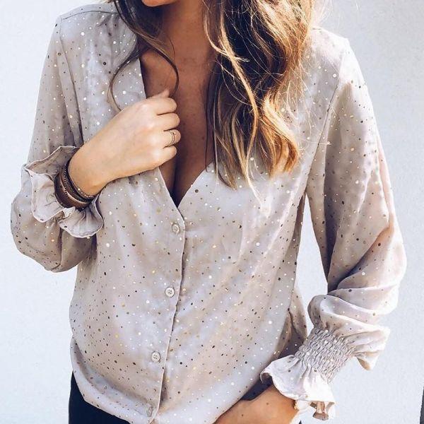 Glitter V-Neck Long Sleeve Shirt 2