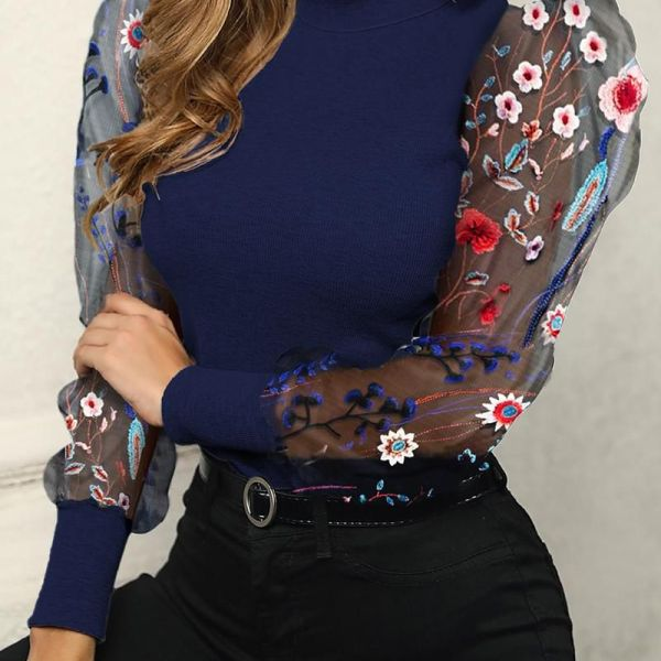 Flower Embroidery Mesh Puffed Sleeve Blouse 2
