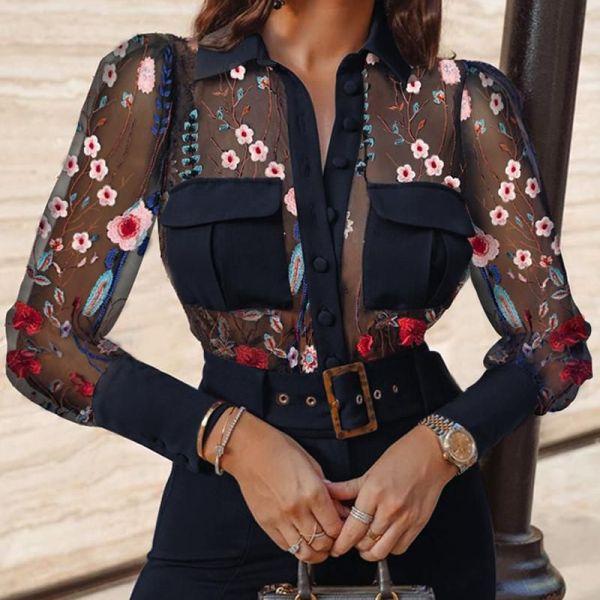 Sheer Mesh Embroidery Long Sleeve Blouse 2