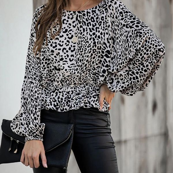 Leopard Print Ruffles Round Neck Blouse 2