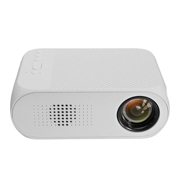 LEJIADA 1080P Mini LED Projector - 400 Lumens, 23 Languages, U Disk Display, TF Card Display, AV Connection - White US Plug 2