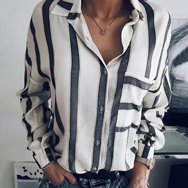 Striped Long Sleeve Casual Shirt 2