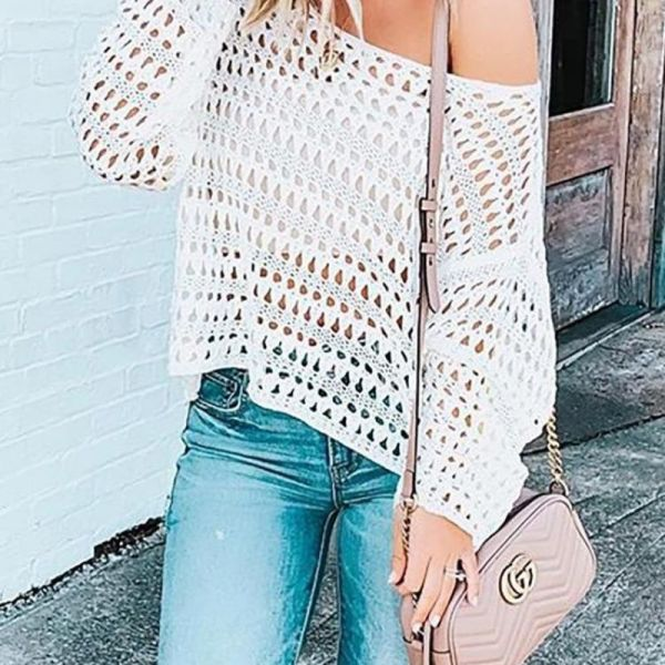 Fishnet Hollow Out Casual Top 2