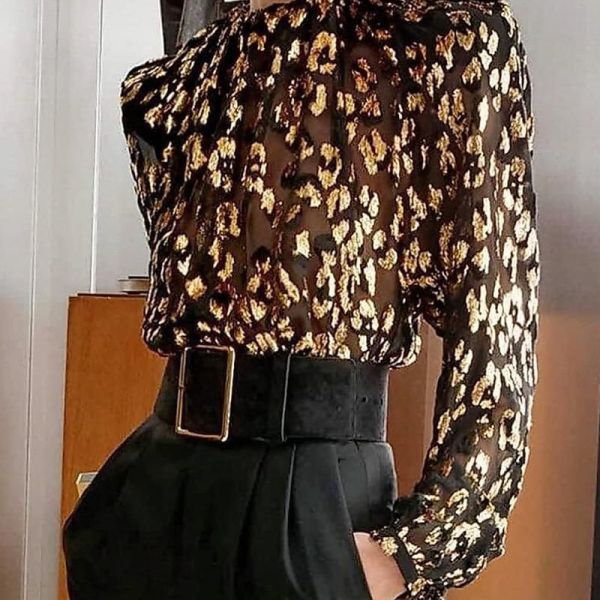 Sequins Long Sleeve Mesh Blouse 2