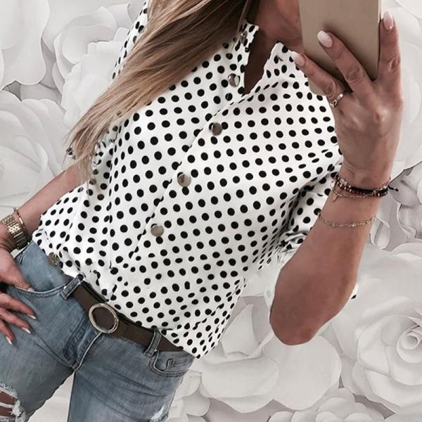 Long Sleeve Dot Print Casual Shirt 2