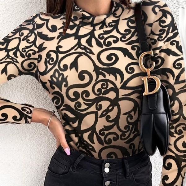Retro Print Long Sleeve Casual Blouse 2