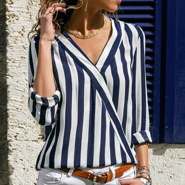 V Neck Long Sleeve Striped Blouse 2