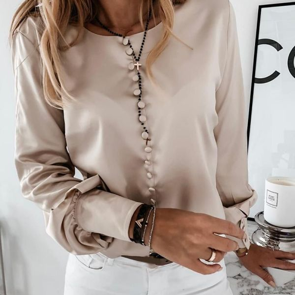 Solid Button-Up Satin Blouse 2