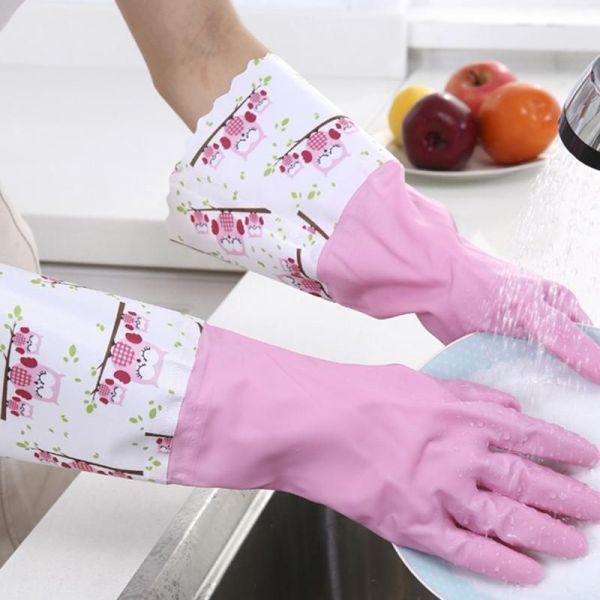 Floral Border Print Rubber Gloves 2