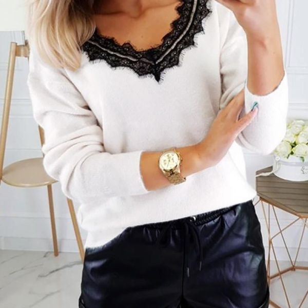 Solid Patchwork Lace Backless Blouse 2