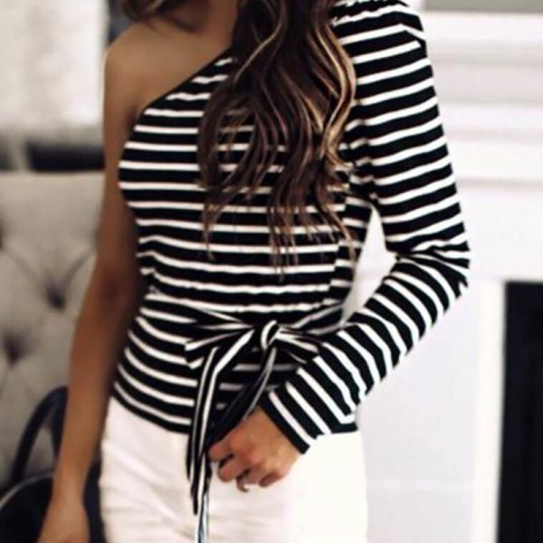 One Shoulder Colorblock Striped Long Sleeve Blouse 2