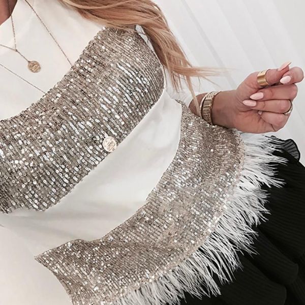 Sequin Feather Long Sleeve Blouse 2