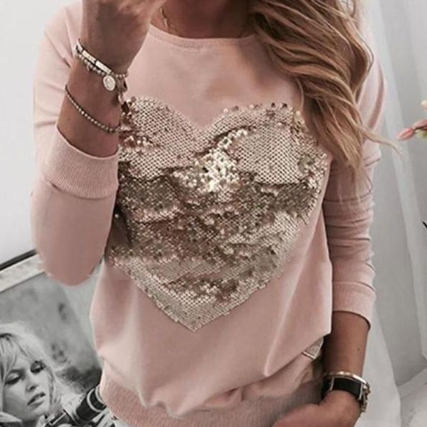 Sequins Heart Pattern Round Neck Blouse 2