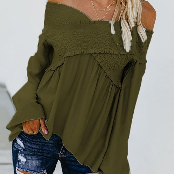 One-shoulder Ruffled Long-sleeved T-shirt 2