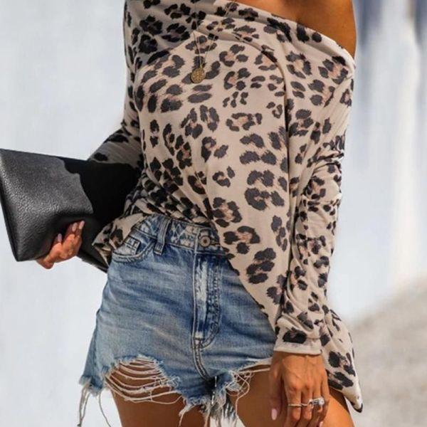 Off Shoulder Leopard Print Long Sleeve Blouse 2