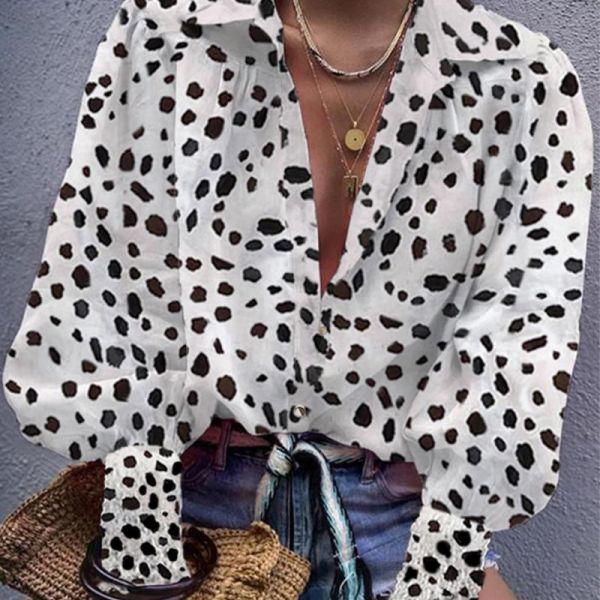 Leopard Bishop Sleeve V Neck Shirt 2