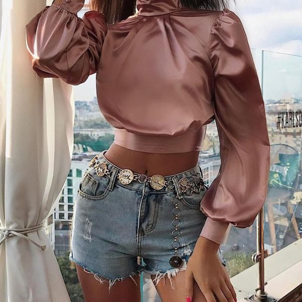 Solid Tied Backless Lantern Sleeve Ruched Crop Top 2