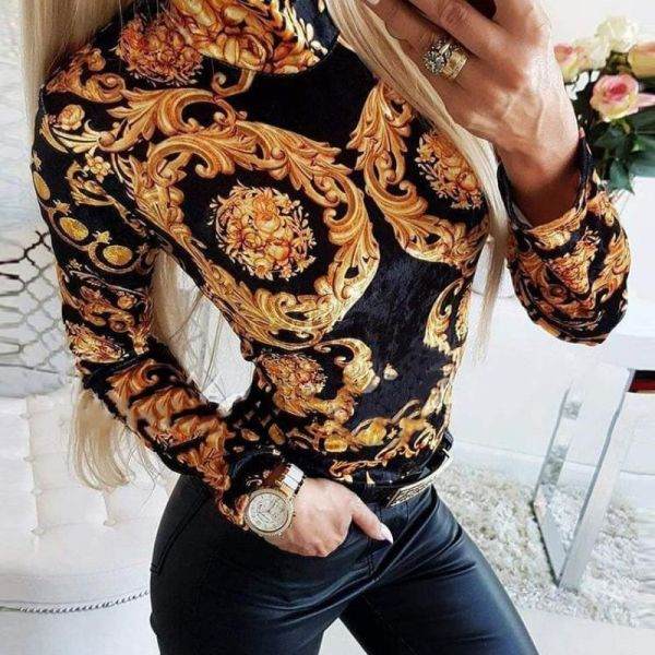 Retro Print High Neck Form Fitted Blouse 2