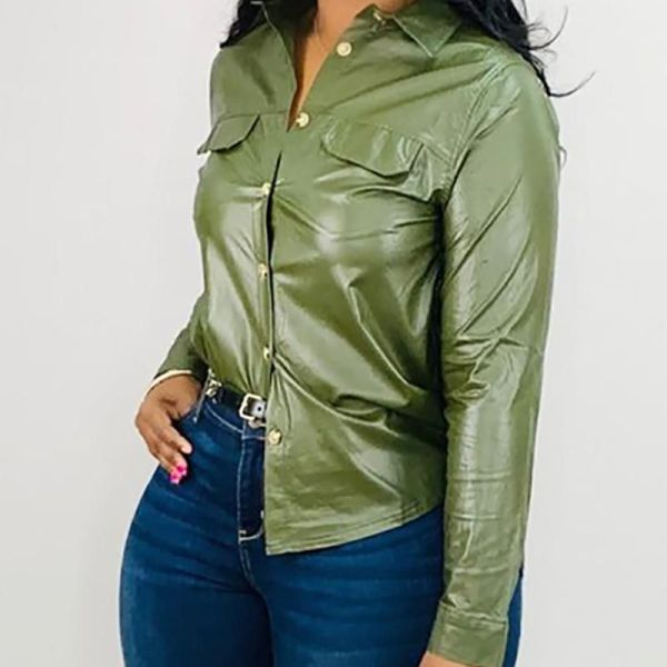 Solid Faux Leather Buttoned Blouse 2
