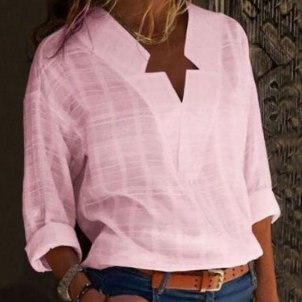 V-Neck Long Sleeve Casual Shirt 2