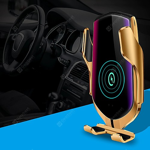 R1 Smart Automatic Clamping Qi Car Wireless Charger with Positioning 10W Fast Charging 360 Rotation infrared Sensor Air Vent Mount Car Phone Holder for Iphone XR XS Huawei P30 Pro Xiaomi 2