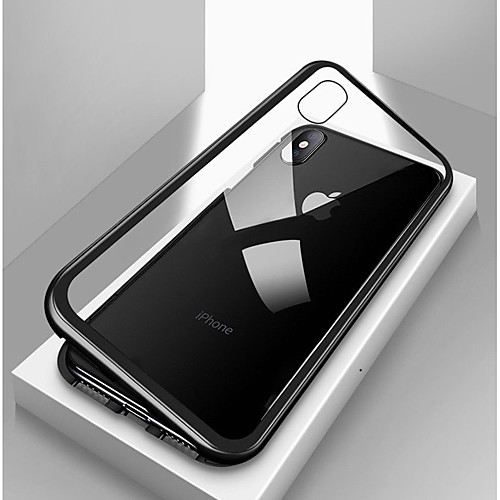 Case For Apple iPhone X / iPhone 8 Plus / iPhone 8 Shockproof / Transparent / Magnetic Full Body Cases Solid Colored Hard Tempered Glass / Metal 2