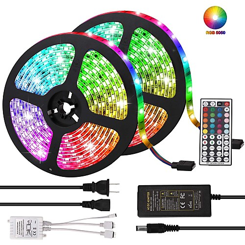 KWB 10m Light Sets 600 LEDs 5050 SMD 10mm RGB Remote Control / RC / Cuttable / Dimmable 100-240 V / Linkable / Self-adhesive / Color-Changing / IP44 2