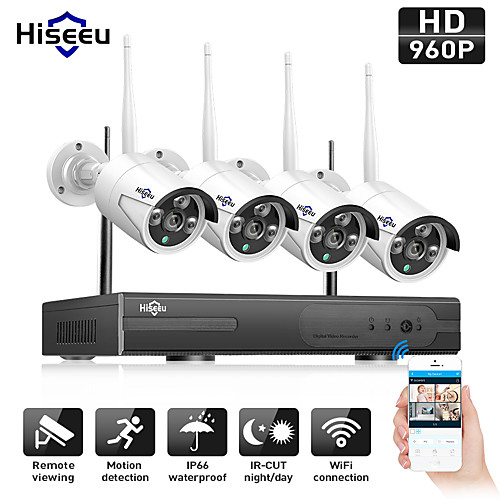 Hiseeu 4CH Wireless 1080P with IP66 Waterproof 4Pcs 2MP IP Camera Day Night Motion Detection Waterproof PAL / NTSC Remote Monitoring Viewing Wireless connection Mobile Access Multi-language 2