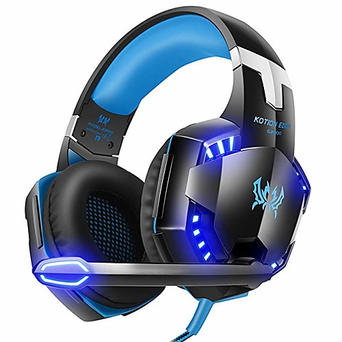 Kotion Each G2000 7.1 Surround Sound Stereo Gaming Headset Esports Headphone LED Lights & Soft Memory Earmuffs Works with Xbox One, PS4, Nintendo Switch, PC Mac Computer Gaming 2