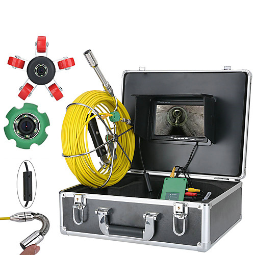 7inch 22mm Pipe Inspection Video Camera 30M IP68 Waterproof Drain Pipe Sewer Inspection Camera System  1000 TVL Camera with 6W LED Lights 2