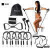 KYLINSPORT Resistance Band Set 15 pcs 5 Stackable Exercise Bands Door Anchor Legs Ankle Straps Sports Latex Home Workout Yoga Pilates Heavy-duty Carabiner Strength Training Muscular Bodyweight 3