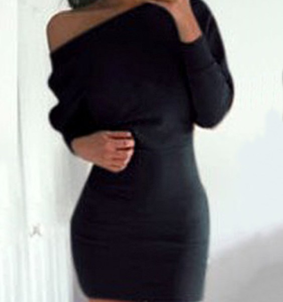 One Shoulder Bat Long Sleeves Mini Dress in Black 2
