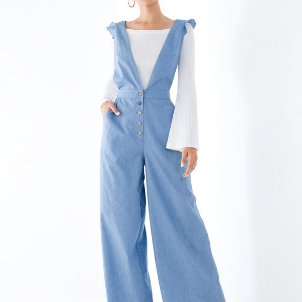 YOINS Blue Criss-cross Back Ruffle Trim Denim Jumpsuit 2