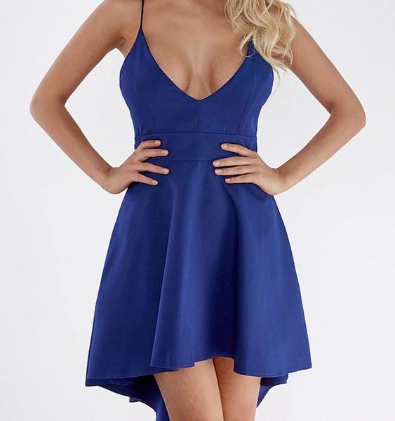 Blue Cut Out Lace Insert Back Irregular Hem Dress 2
