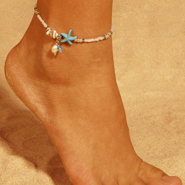 Silver Bohemian Style Starfish Shell Beads Anklet 2