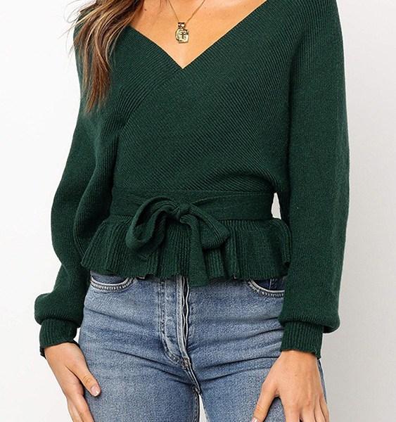 Green Backless Design Deep V Neck Wrap Knit Top 2